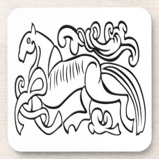 Nordic Horse black and white graphic image Coaster