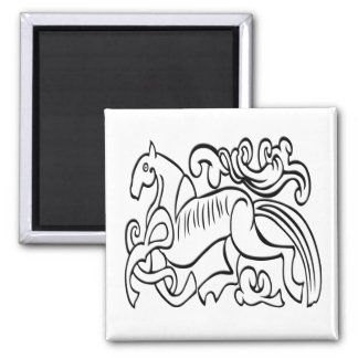Nordic Horse black and white graphic image Magnet