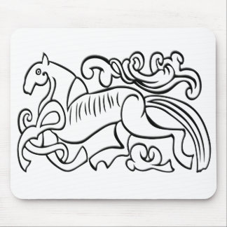 Nordic Horse black and white graphic image Mousepad