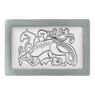 Nordic Horse black and white graphic image Rectangular Belt Buckle