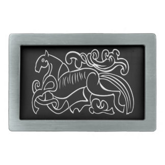 Nordic Horse black and white graphic inverted Belt Buckle