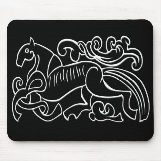 Nordic Horse black and white graphic inverted Mousepads