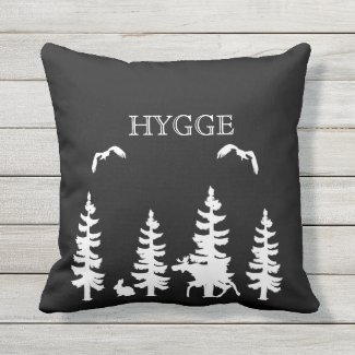 Nordic Hygge forest and animals in black white