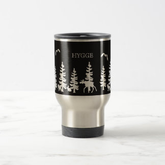 Nordic Hygge with forest silhouettes black white Travel Mug