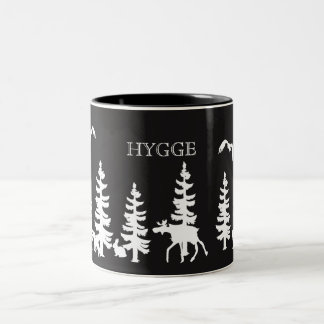 Nordic Hygge with forest silhouettes black white Two-Tone Coffee Mug