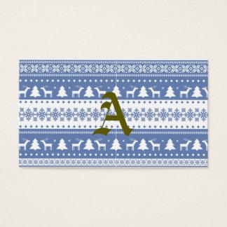 nordic,knitting,pattern,deer,trees,winter,snow,fun business card