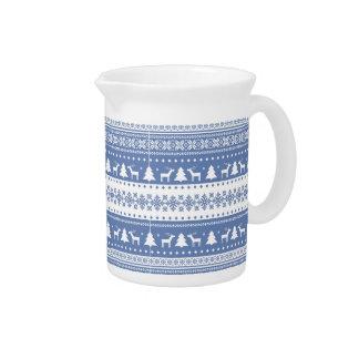 nordic,knitting,pattern,deer,trees,winter,snow,fun drink pitcher