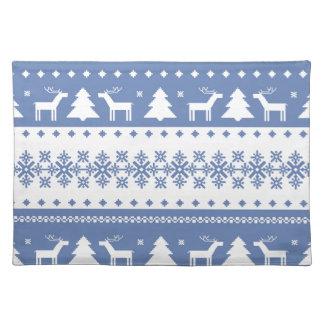 nordic,knitting,pattern,deer,trees,winter,snow,fun cloth placemat