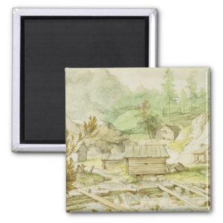 Nordic Landscape with Wooden Hut and Weir 2 Inch Square Magnet