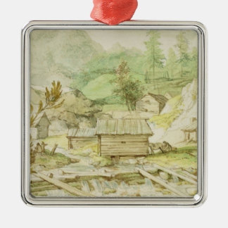 Nordic Landscape with Wooden Hut and Weir Square Metal Christmas Ornament