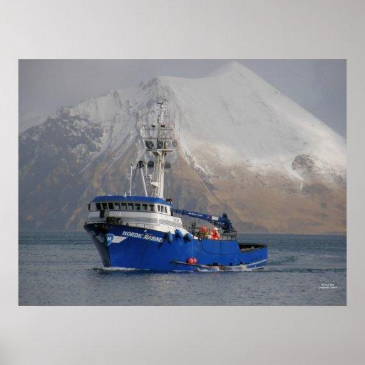 Nordic mariner crab boat in dutch harbor ak poster zazzle for Alaska commercial fishing jobs