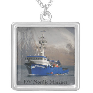Nordic Mariner, Crab Boat in Dutch Harbor, AK Silver Plated Necklace