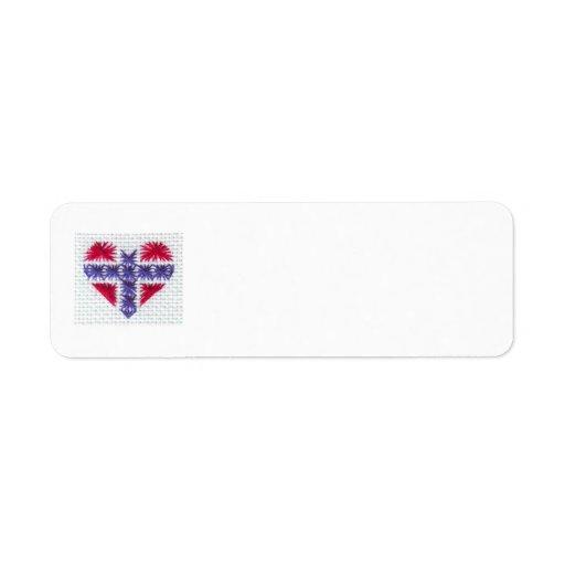 Nordic noruego Noruega Hj de la puntada de la cruz Etiqueta De Remite