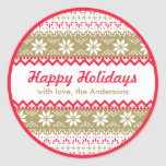 Nordic Pattern Gift Tag | Happy Holidays Custom Sticker