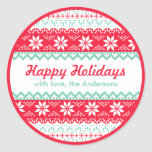 Nordic Pattern Gift Tag | Happy Holidays Custom Classic Round Sticker