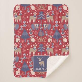 Nordic Pattern Personalized Scandinavian Sherpa Blanket