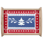 Nordic pine tree, snowflake and heart pattern serving tray