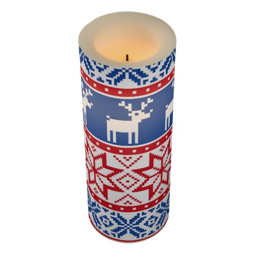 Nordic Reindeer and Snowflakes Flameless Candle
