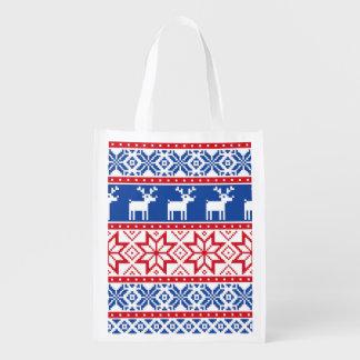 Nordic Reindeer and Snowflakes Grocery Bags