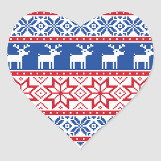 Nordic Reindeer and Snowflakes Heart Sticker