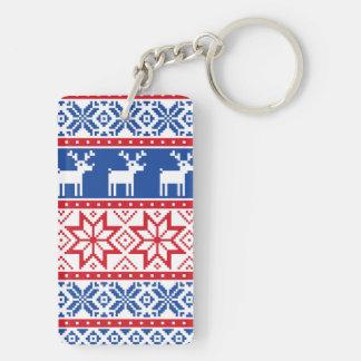 Nordic Reindeer and Snowflakes Keychain