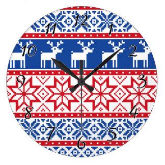 Nordic Reindeer and Snowflakes Large Clock