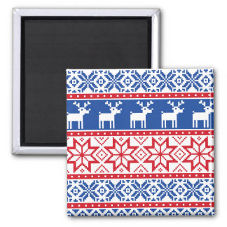 Nordic Reindeer and Snowflakes Magnet