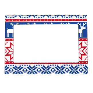Nordic Reindeer and Snowflakes Magnetic Frame