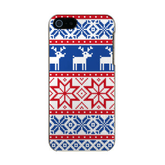 Nordic Reindeer and Snowflakes Metallic iPhone SE/5/5s Case