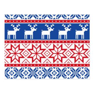 Nordic Reindeer and Snowflakes Postcard