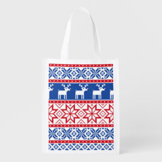 Nordic Reindeer and Snowflakes Reusable Grocery Bag