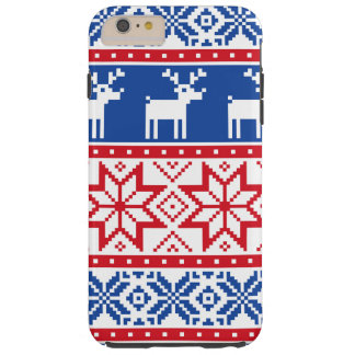 Nordic Reindeer and Snowflakes Tough iPhone 6 Plus Case