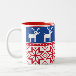 Nordic Reindeer and Snowflakes Two-Tone Coffee Mug