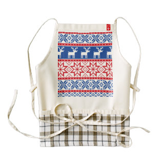 Nordic Reindeer and Snowflakes Zazzle HEART Apron