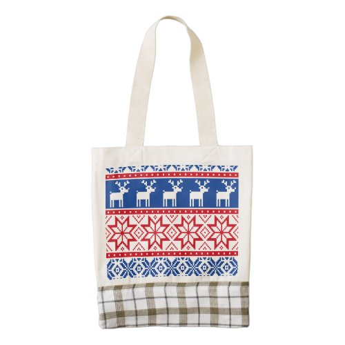 Nordic Reindeer and Snowflakes Zazzle HEART Tote Bag