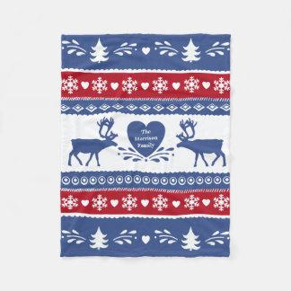 Nordic reindeer, snowflake, heart and tree pattern fleece blanket