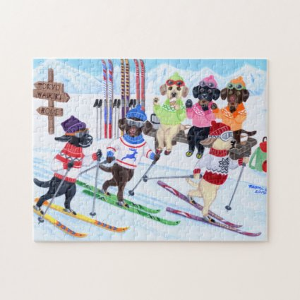 Nordic Skiing Labradors Painting Jigsaw Puzzle