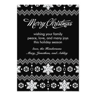 "Nordic Snowflake Black & White Christmas Card 5"" X 7"" Invitation Card"