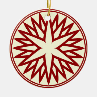 Nordic Snowflake (Red on Ivory) Personalized Ceramic Ornament