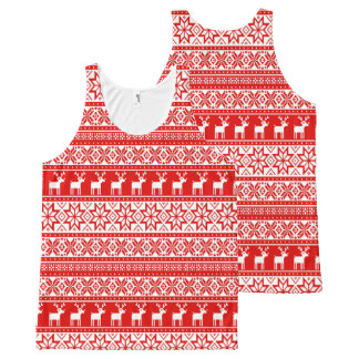 Nordic Snowflake Reindeer Ugly Christmas Sweater All-Over-Print Tank Top