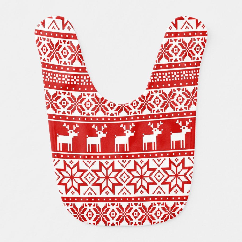 Nordic Snowflake Reindeer Ugly Christmas Sweater Baby Bib
