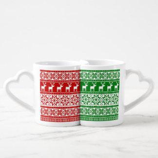 Nordic Snowflake Reindeer Ugly Christmas Sweater Coffee Mug Set