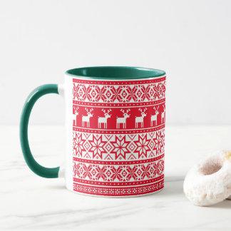 Nordic Snowflake Reindeer Ugly Christmas Sweater Mug