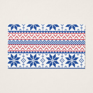 Nordic Snowflakes Christmas Pattern Business Card