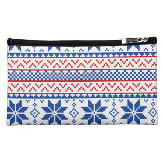 Nordic Snowflakes Christmas Pattern Cosmetic Bag