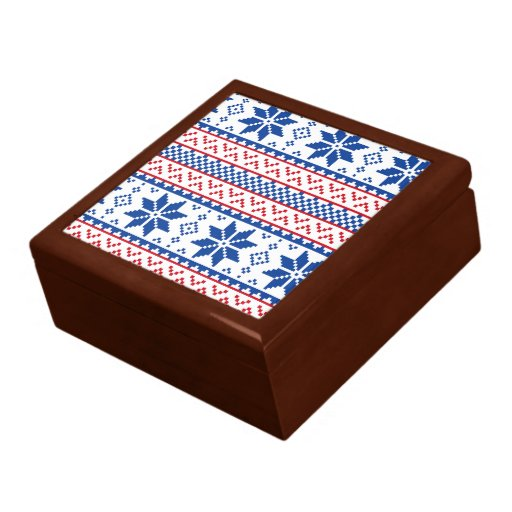 Nordic Snowflakes Christmas Pattern Gift Box