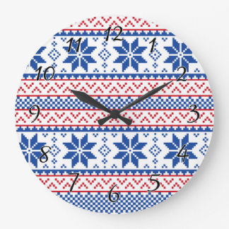 Nordic Snowflakes Christmas Pattern Large Clock