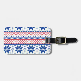 Nordic Snowflakes Christmas Pattern Luggage Tag