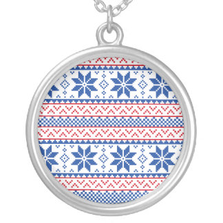 Nordic Snowflakes Christmas Pattern Round Pendant Necklace