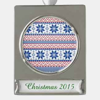 Nordic Snowflakes Christmas Pattern Silver Plated Banner Ornament